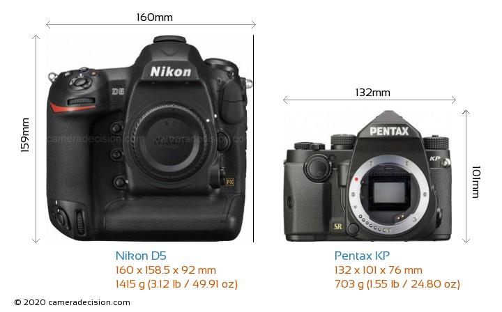 Nikon D5 vs Pentax KP Camera Size Comparison - Front View