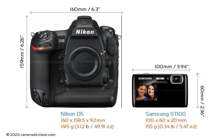 Nikon D5 vs Samsung ST100 Camera Size Comparison - Front View