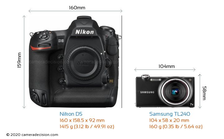 Nikon D5 vs Samsung TL240 Camera Size Comparison - Front View