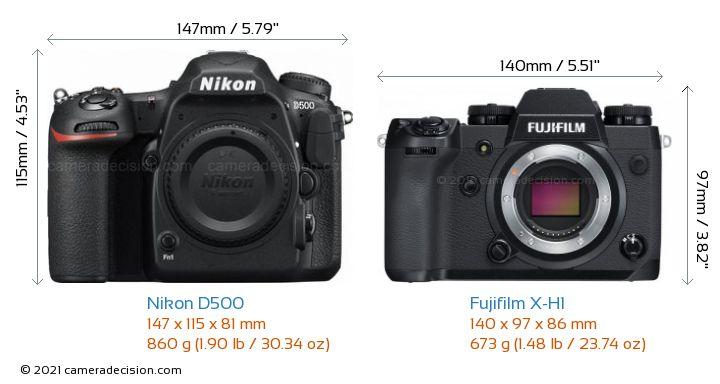 Nikon D500 vs Fujifilm X-H1 Camera Size Comparison - Front View