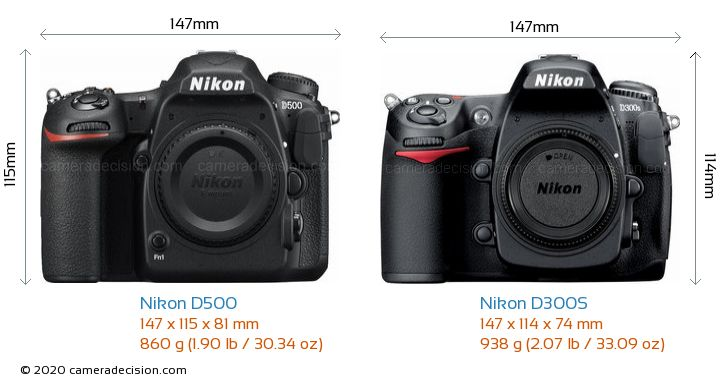 Nikon D500 vs Nikon D300S Camera Size Comparison - Front View
