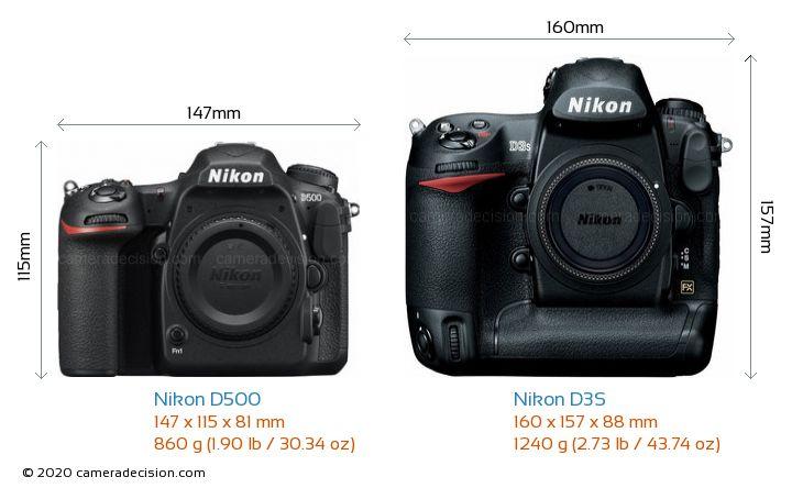 Nikon D500 vs Nikon D3S Camera Size Comparison - Front View
