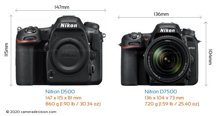 Nikon D500 vs Nikon D7500 Camera Size Comparison - Front View