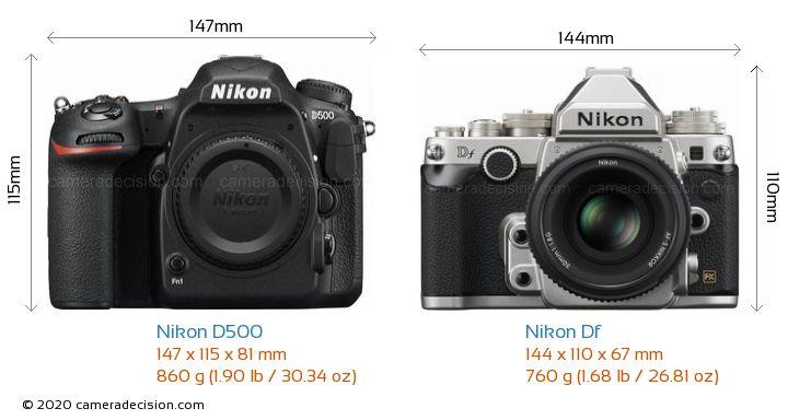 Nikon D500 vs Nikon Df Camera Size Comparison - Front View