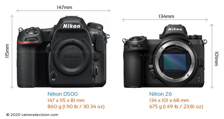 Nikon D500 vs Nikon Z6 Camera Size Comparison - Front View