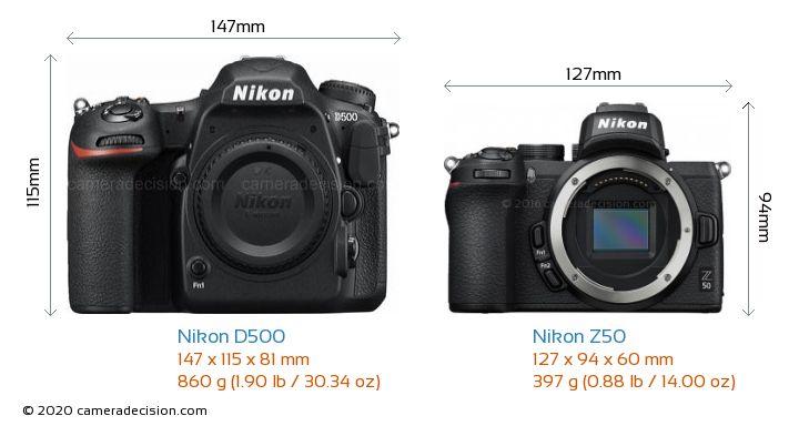Nikon D500 vs Nikon Z50 Camera Size Comparison - Front View