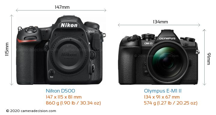 Nikon D500 vs Olympus E-M1 II Camera Size Comparison - Front View