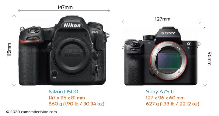Nikon D500 vs Sony A7S II Camera Size Comparison - Front View