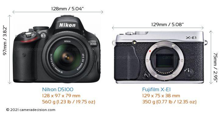 Nikon D5100 vs Fujifilm X-E1 Camera Size Comparison - Front View