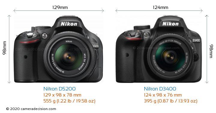Nikon D5200 vs Nikon D3400 Camera Size Comparison - Front View