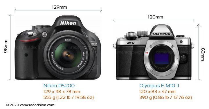 Nikon D5200 vs Olympus E-M10 II Camera Size Comparison - Front View