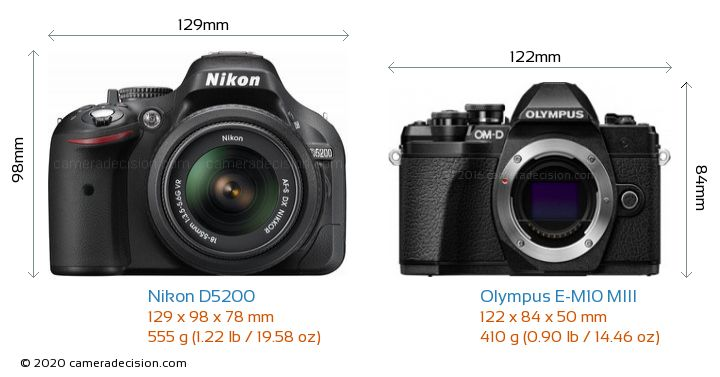 Nikon D5200 vs Olympus E-M10 MIII Camera Size Comparison - Front View