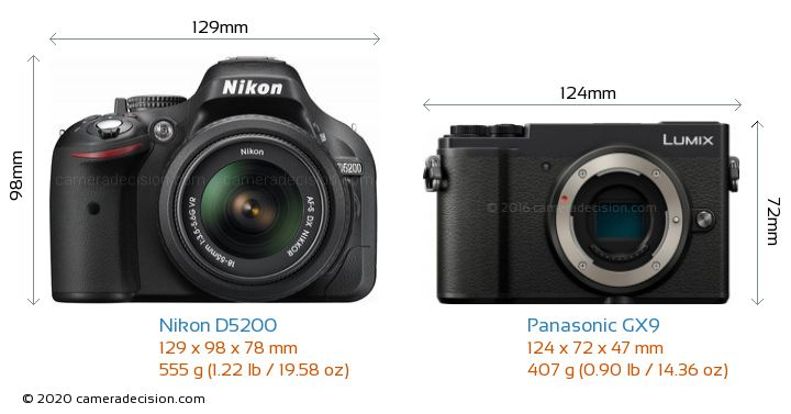 Nikon D5200 vs Panasonic GX9 Camera Size Comparison - Front View