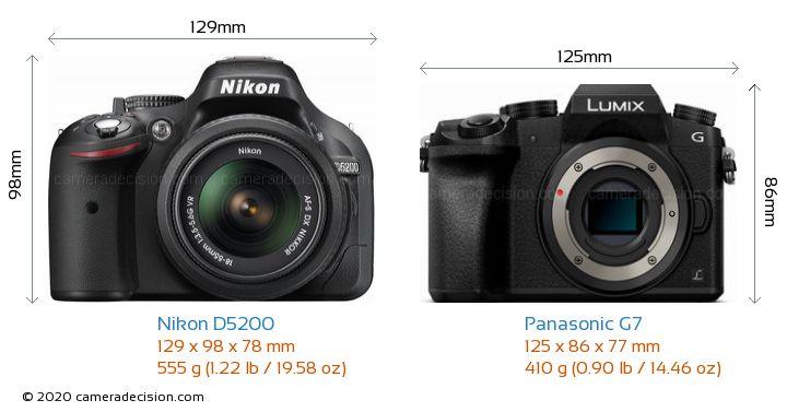 Nikon D5200 vs Panasonic G7 Camera Size Comparison - Front View