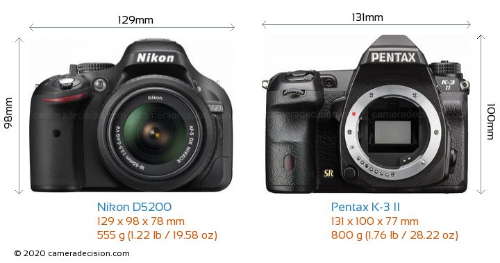 Nikon D5200 vs Pentax K-3 II Camera Size Comparison - Front View