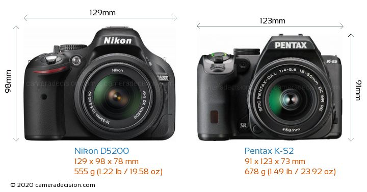 Nikon D5200 vs Pentax K-S2 Camera Size Comparison - Front View
