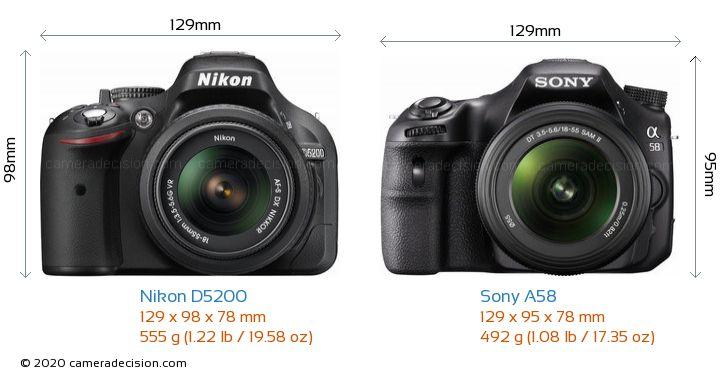 Nikon D5200 vs Sony A58 Camera Size Comparison - Front View