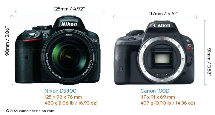 Nikon D5300 vs Canon 100D Camera Size Comparison - Front View