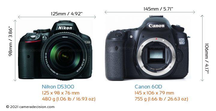 Nikon D5300 vs Canon 60D Camera Size Comparison - Front View