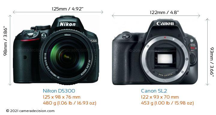 Nikon D5300 vs Canon SL2 Camera Size Comparison - Front View