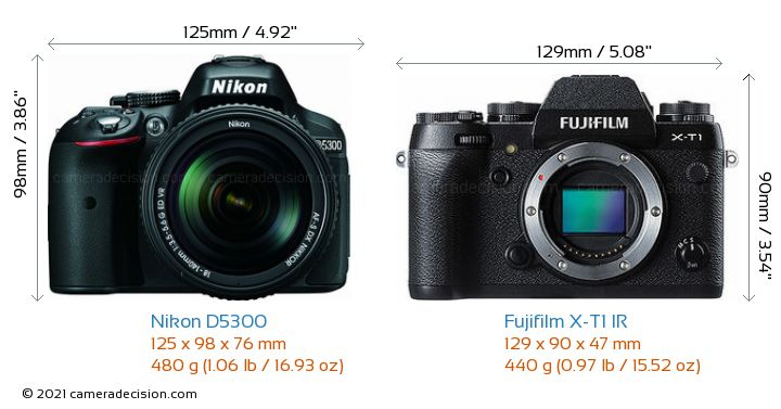 Nikon D5300 vs Fujifilm X-T1 IR Camera Size Comparison - Front View