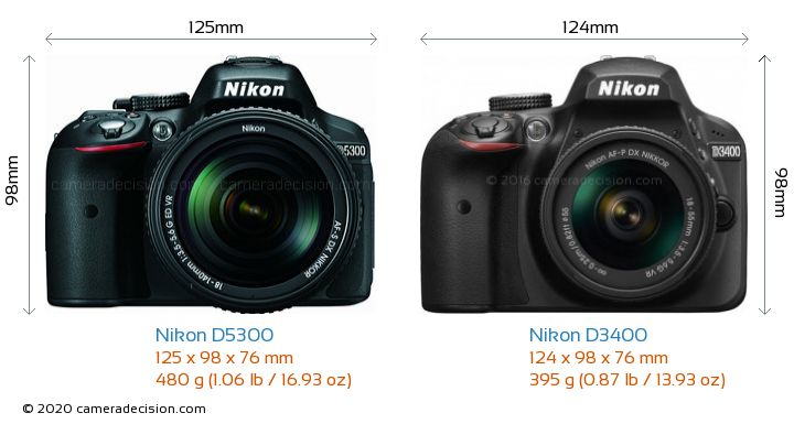 Nikon D5300 vs Nikon D3400 Camera Size Comparison - Front View