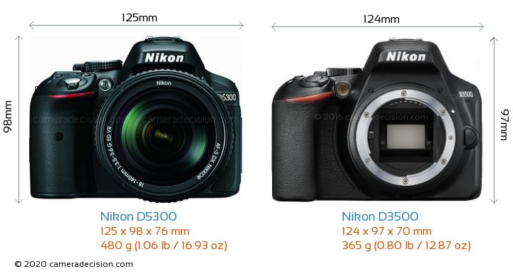 Nikon D5300 vs Nikon D3500 Camera Size Comparison - Front View