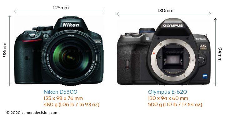 Nikon D5300 vs Olympus E-620 Camera Size Comparison - Front View