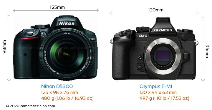 Nikon D5300 vs Olympus E-M1 Camera Size Comparison - Front View