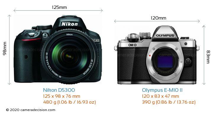 Nikon D5300 vs Olympus E-M10 II Camera Size Comparison - Front View