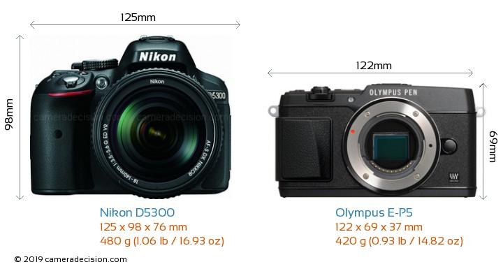 Nikon D5300 vs Olympus E-P5 Camera Size Comparison - Front View