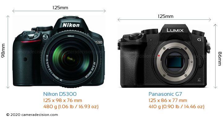 Nikon D5300 vs Panasonic G7 Camera Size Comparison - Front View