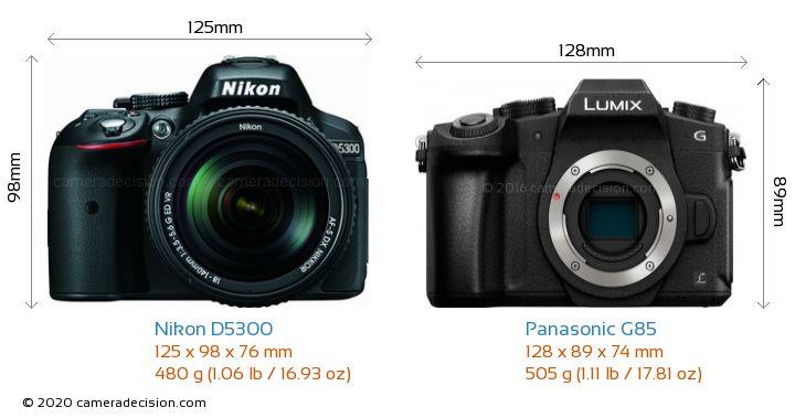 Nikon D5300 vs Panasonic G85 Camera Size Comparison - Front View