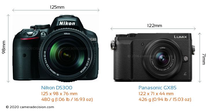 Nikon D5300 vs Panasonic GX85 Camera Size Comparison - Front View