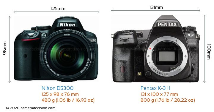 Nikon D5300 vs Pentax K-3 II Camera Size Comparison - Front View