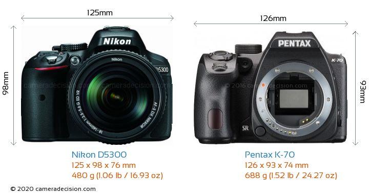 Nikon D5300 vs Pentax K-70 Camera Size Comparison - Front View