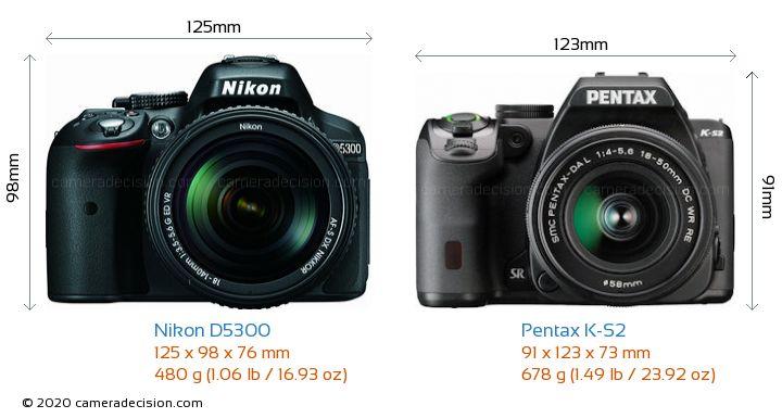 Nikon D5300 vs Pentax K-S2 Camera Size Comparison - Front View