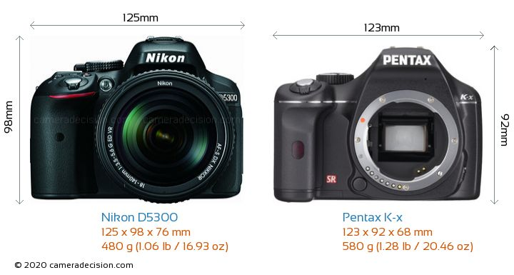 Nikon D5300 vs Pentax K-x Camera Size Comparison - Front View