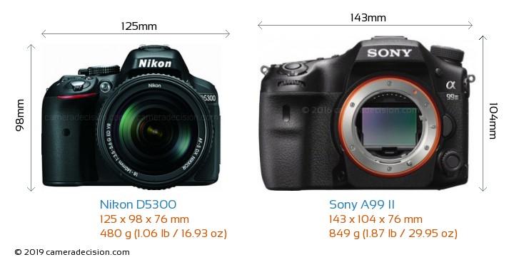 Nikon D5300 vs Sony A99 II Camera Size Comparison - Front View