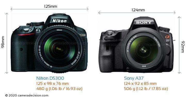 Nikon D5300 vs Sony A37 Camera Size Comparison - Front View