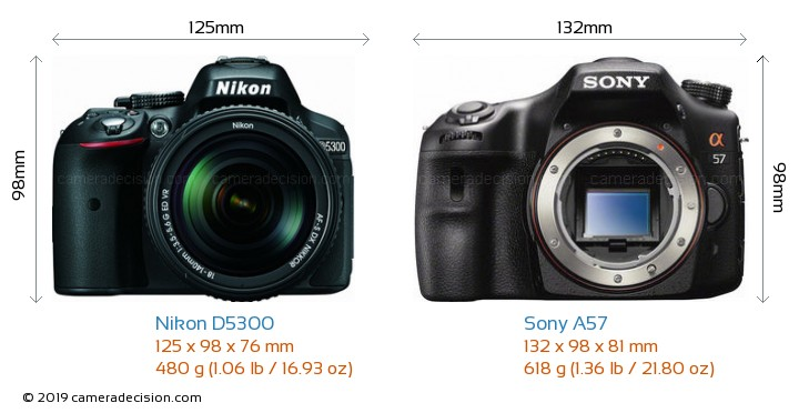 Nikon D5300 vs Sony A57 Camera Size Comparison - Front View