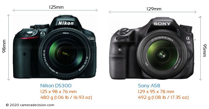 Nikon D5300 vs Sony A58 Camera Size Comparison - Front View