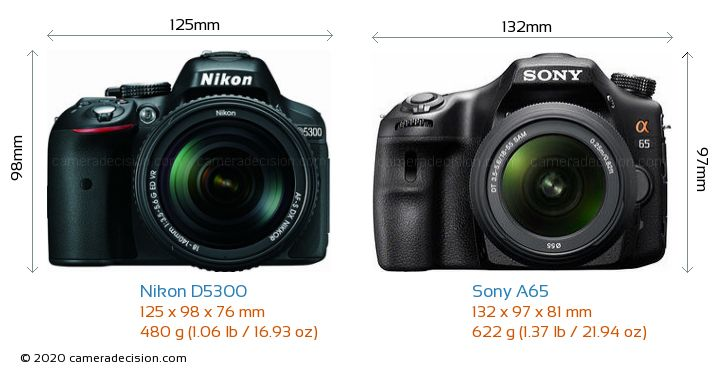 Nikon D5300 vs Sony A65 Camera Size Comparison - Front View