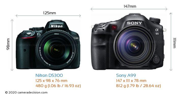 Nikon D5300 vs Sony A99 Camera Size Comparison - Front View