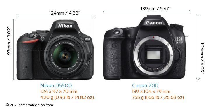 Nikon D5500 vs Canon 70D Camera Size Comparison - Front View