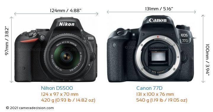 Nikon D5500 vs Canon 77D Camera Size Comparison - Front View