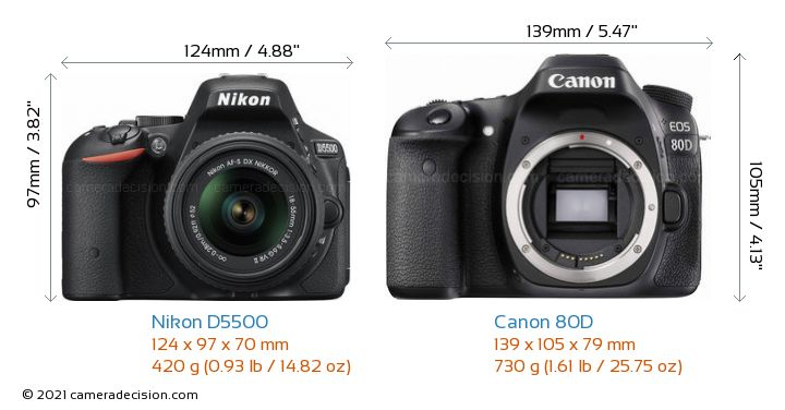 Nikon D5500 vs Canon 80D Camera Size Comparison - Front View