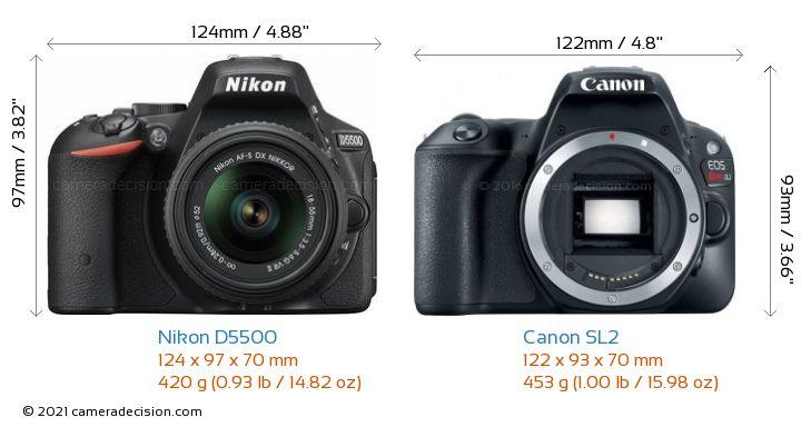 Nikon D5500 vs Canon SL2 Camera Size Comparison - Front View