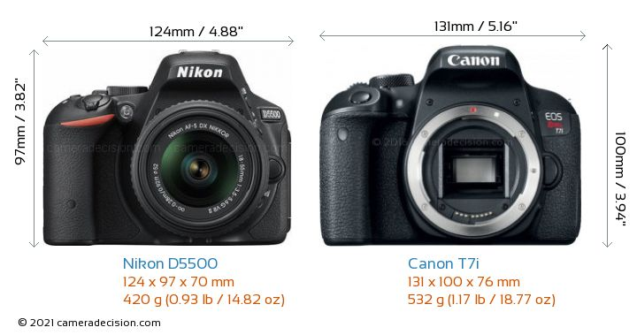 Nikon D5500 vs Canon T7i Camera Size Comparison - Front View