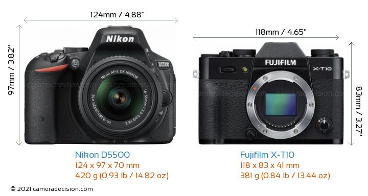 Nikon D5500 vs Fujifilm X-T10 Camera Size Comparison - Front View